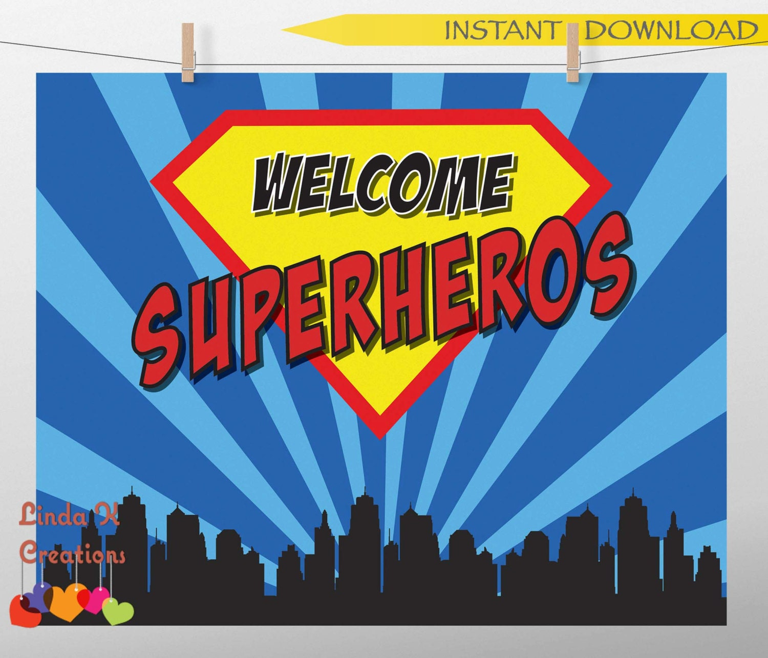 Superhero Party Welcome Sign Instant Download Ready To Print