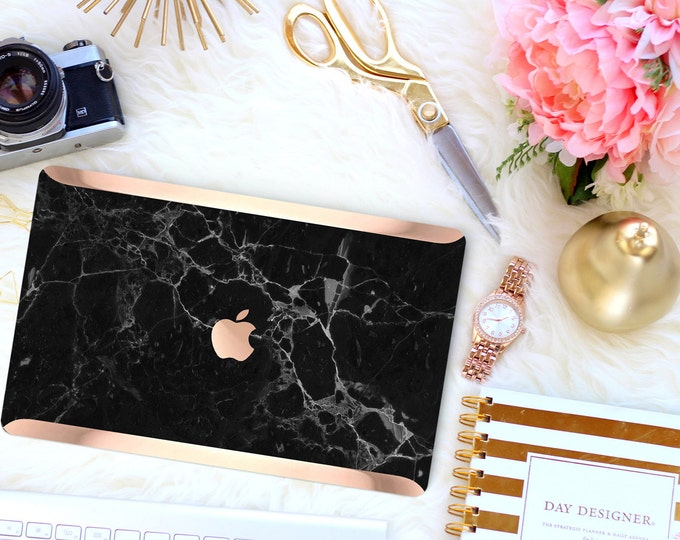 Featured listing image: Platinum Edition Black Marble with Rose Gold/Copper Edge Detailing Hybrid Hard Case for Apple Mac Air & Mac Pro Retina, Mac 12""