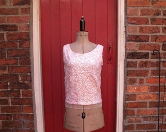 20% SALE 1960s beaded shell / 60s pink sequin top / vintage pastel go-go party top / fringed go go tank