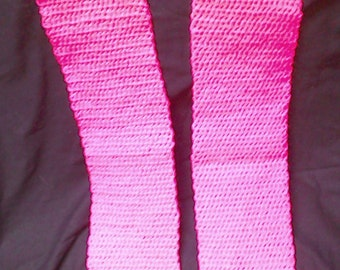 neon pink pencil crochet scarf