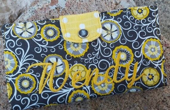 Personalized Yellow and Grey Checkbook Cover
