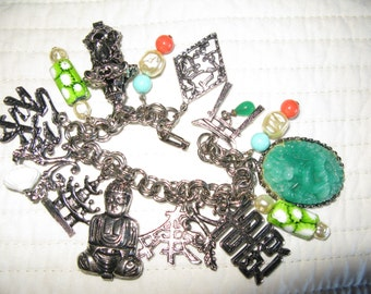 Asian Charm Bracelet 7 Inches Silver Tone