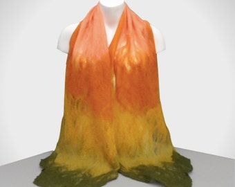 Gift boxed cobweb felted scarf in orange, yellow and green