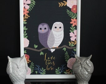 Illustration owls - Love lives here