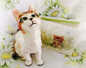 Vintage Japan Cat Figurine and Hallmark Kitten Mini Photo Album Kitschy Cute