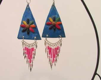 Blue triangle Flower Dangle earrings Boho Hippie beads