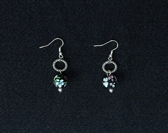 Flowers and Silver Drop Earrings