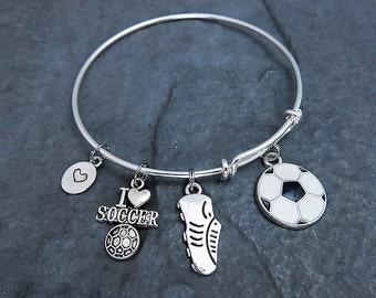 Soccer Bracelet - Charm Bracelet - Soccer Gifts - Expandable Bangle - Soccer Jewelry - Soccer Mom - Soccer Ball - Team Gifts - Personalized