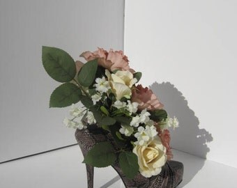 Dusty Rose/Silk Florals/Shoe Centerpiece/Shoe Lover/Bridal Shower/Shabby Chic