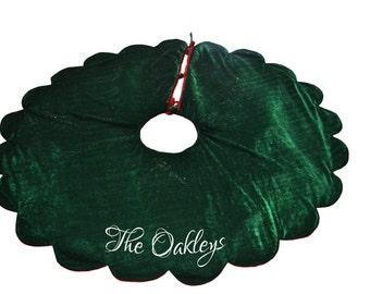 Christmas Tree Skirt Velvet Monogrammed Holiday Decoration Multiple Sizes Season Santa Claus Red Gold