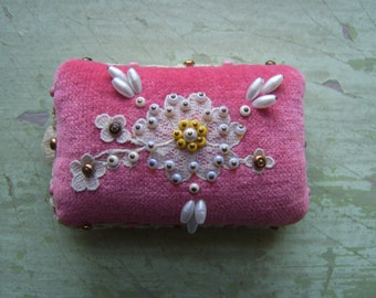 An Antique Pin Cushion - Velvet + Lace + Beads - Victorian/Edwardian - Needlework Collectable.