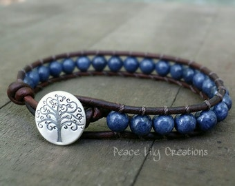 genuine sapphire leather wrap bracelet single wrap fine silver tree of life button boho bracelet yoga bracelet earthy stacking bracelet