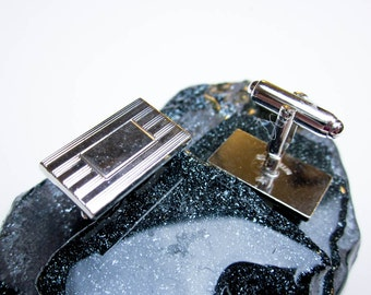 "Cuff Links 50s Minimalist 1"" long Sterling w. Rhodium Plate, Monogramable, Mad Men, Tuxedo Formal Grooms Gift, Wedding Jewelry, USA."