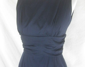 50s 60s Blue Womens Vintage Cotton Wiggle Party Dress W26