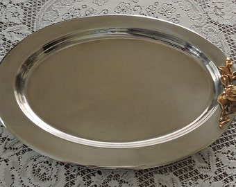 Vintage Oneida Stainless Steel 18/8 Made in USA Serving Platter Tray Gold Rose  Decor