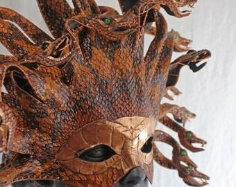 Copperhead  Medusa: handmade tooled leather mask
