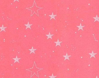 Michael Miller Fabrics Knit Fabric Magic! Lucky Stars by Sarah Jane Coral Stars