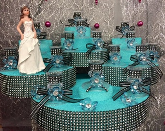 Sweet 16 Figurine Centerpiece with Candle Holders Table or Cake Decoration Choose Color