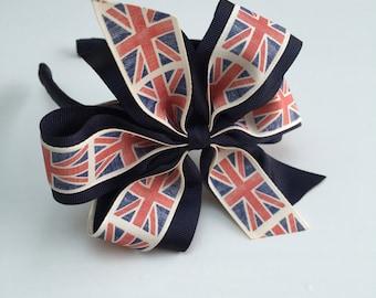 Girls Union Jack Grosgrain Headband