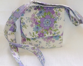 Cross body bag, cross body purse, cell phone bag, small messenger bag, handmade bags, upcycled vintage floral fabric, gifts for girls