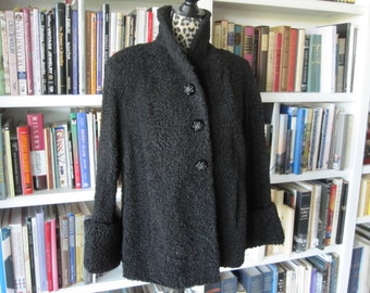BLACK PERSIAN LAMB Jacket With Wide Cuffs