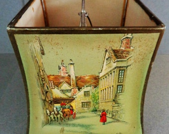 Vintage Clyde Cole signed Square Lamp Shade Mol's Coffee House The Bell Inn The New Inn The Globe Inn Old England prints 4 sided