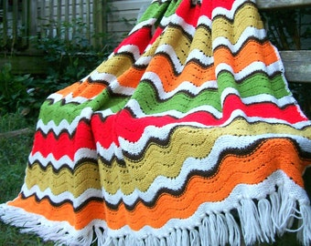 "Vintage Fall Multi Colored Chevron Zig Zag Pattern Crochet/Knitted Afghan Throw Blanket Retro 64""x72"""
