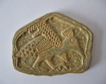 Rare & Big! Søholm Denmark - Danish Art Pottery - wall tile - bird motif - Gerd Hiort Petersen - no 3514 - mid century
