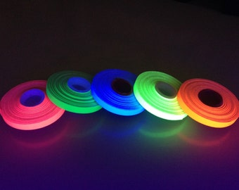 "5 Roll Pack GLOW UV Neon Gaffers Tape 1/4"" 30 ft Rolls ALL Colors"