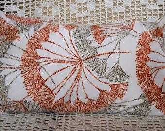 12x20 Pillow Cover White Orange Taupe Dandelion Print Envelope Closure