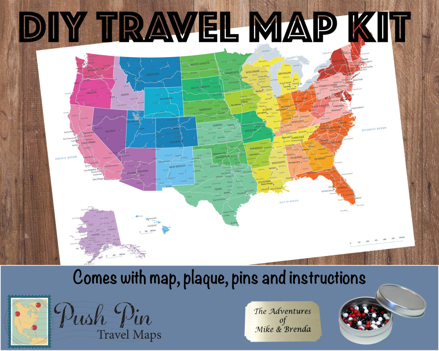 DIY Colorful US Push Pin Travel Map Kit With  Pins - Us travel map push pin