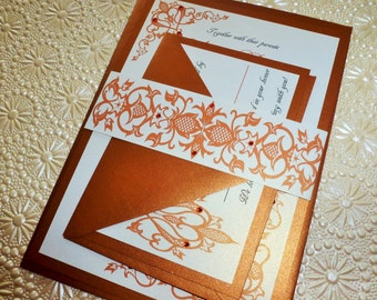 "Elegant Fall Wedding Invitation ( sample ) - "" Burnt Orange Leave """