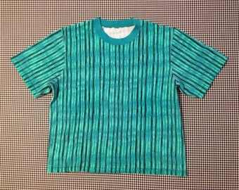1980's, boxy cut, t-shirt, in aqua-teals, and watery stripes, Women's size Medium