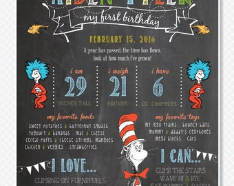 Dr Seuss Chalkboard Sign / Dr Seuss First Birthday / Cat in the Hat Party / Cat in the Hat Chalkboard / Thing 1 and Thing 2 / Digital