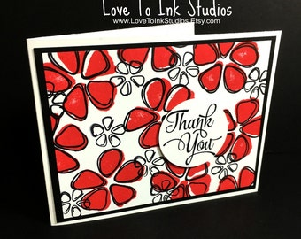 Thank You Card, Handstamped, Watermelon Colored Flowers, Bold and Bright, Customer Thank You