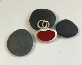 Recyled Silver and Red resin pendant