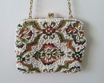Beautiful Vintage 1970 Boho Colorful Cloth And Beaded Bag.