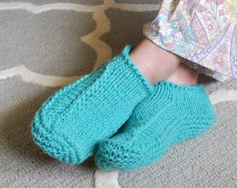 Woman's Slippers Hand Knit Turquoise Wool Slipper Socks 1406.245.M