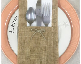 Burlap Silverware caddy holder - qty 4, 6 or 8 - Home decor Holiday decorating