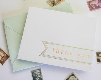 Elegant Copper Foil Stamped Thank Cards (Set of 6) / Mint & Copper / Simple Banner Design