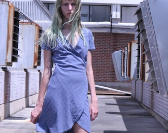 90s Blue Wrap Dress, Tulip Hem Dress, Crisscross Wrap Dress, Vintage 1990s Dress, Gray Blue Dress, Summer Dress, Velcro Wrap Dress, XS-Small