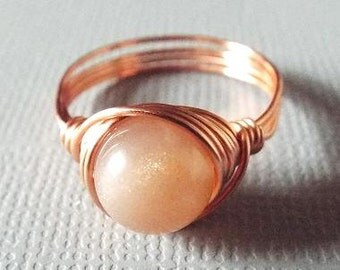 SALE! Peach Moonstone Ring, Copper Ring, Peach Ring, Orange Moonstone Ring, Copper Moonstone Ring, Wire Wrapped Ring, Orange Stone Ring
