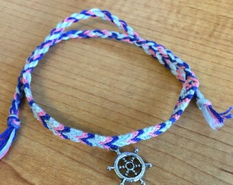 Pink and blue nautical chevron bracelet with charm