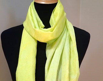 Hand painted silk scarf in citrus yellow