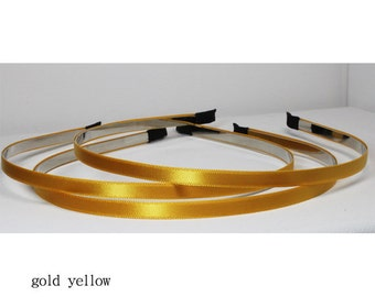 3pcs - Golden Yellow 5MM satin over flexible metal head band, hair band supply [FL-40]