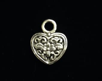 8 Pieces Heart Charm, Floral Design heart charm, double sided reversible puffed heart charm, 22x20mm Antique silver finish 10-9-AS