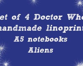 A set of 4 linoprint Doctor Who A5 Notebooks