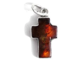 Cross Amber Pendant Silver
