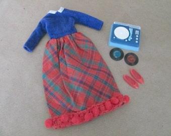 Vintage Skipper Clothes, 1960's Skipper Outfit, #1914 Platter Party, Skipper Dress, Accessories, Vintage Skipper Outfit, Barbie's Sister