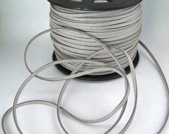 Light Gray Faux Suede Cord 20 Feet USA Seller